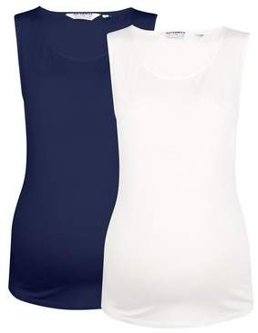 Dorothy Perkins Womens **Maternity 2 Pack White And Navy Vest