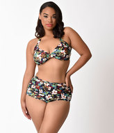 Esther Williams Plus Size Black Enchanted Floral Halter Swim Top
