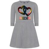 Moschino MoschinoGirls Grey Hearts Print Fleece Dress