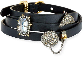Alexis Bittar Multi-Wrap Leather Charm Bracelet, Black