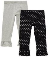 F&F 2 Pack of Polka Dot and Marl Frill Cuffs Leggings, Toddler Girl's