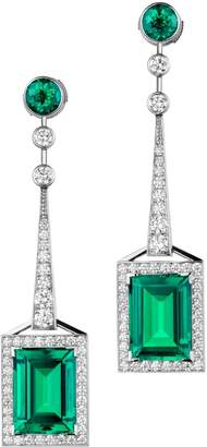Swarovski White Gold, Diamond and Emerald Drop Mosaic Earrings