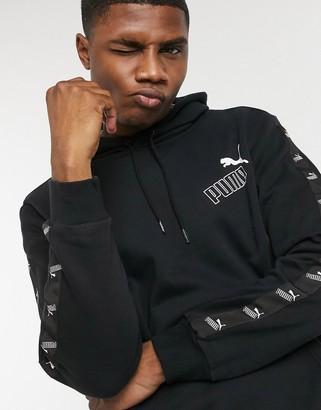 Puma Amplified arm tape logo hoodie in black