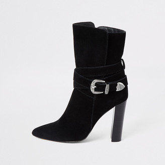 River Island Black suede western heeled boots