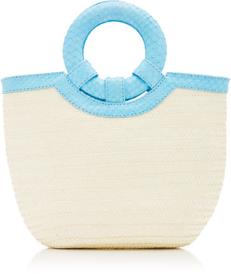 Adriana Castro Watersnake Trimmed Straw Tote