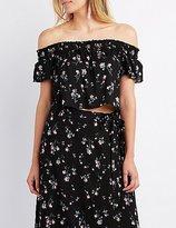Charlotte Russe Floral Smocked Off-The-Shoulder Crop Top