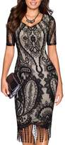 SYLVIEY Womens Vintage 1920s Lace floral crochet bodycon Fringed Flapper Dress