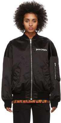 Palm Angels Black Logo Bomber Jacket