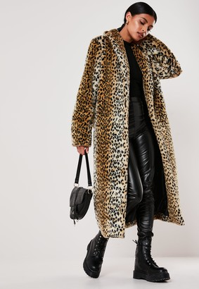 Missguided Brown Leopard Print Long Faux Fur Coat