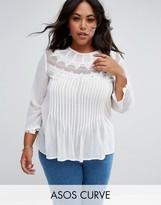 Asos Blouse With Embroidery And Lace Detail