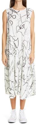 Pleats Please Issey Miyake Conductor Print Pleated Midi Dress