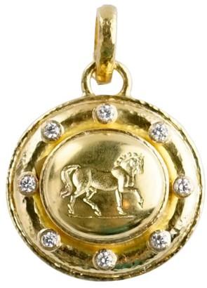 Elizabeth Locke Horse 19K Yellow Gold & Diamond Pendant