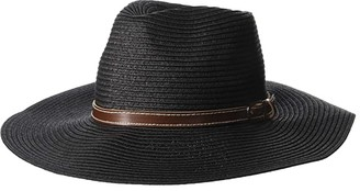 San Diego Hat Company PBF7339 - Fedora with Faux Leather Band with Buckle (Black) Caps