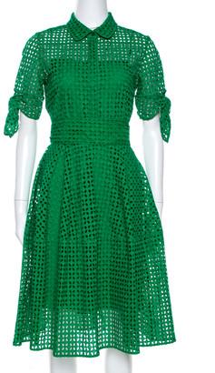 Carolina Herrera CH Green Eyelet Lace Tie Detail Midi Dress M
