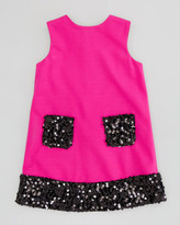 Milly Minis Daphne Combo Sequin Dress, Pink, Sizes 2-6