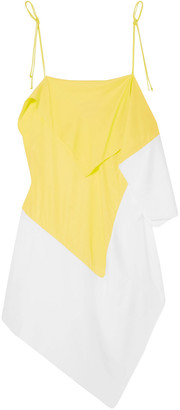 Marques Almeida Asymmetric Draped Two-tone Crepe De Chine Camisole