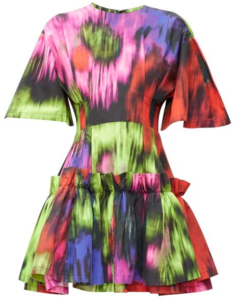Carolina Herrera Superbloom-print Cotton-poplin Mini Dress - Womens - Pink Multi