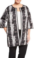 Lafayette 148 New York Vida 3/4-Sleeve Print Topper Jacket, Black Multi, Plus Size