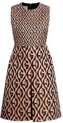 Gucci Jacquard Stretch Wool & Silk Logo Sleeveless A-Line Dress