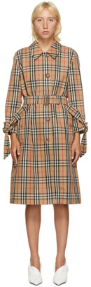 Burberry Beige Check Claygate Coat