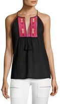 Joie Clea Embroidered Cotton Gauze Tank Top