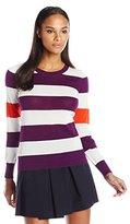 Lacoste Women's Long Sleeve Bold Stripe Cotton Crew Neck Sweater