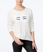 Hybrid Juniors' Wink Reversible Sequined Graphic Sweatshirt