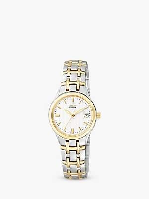 Citizen EW1264-50A Women's Eco-Drive Two Tone Bracelet Strap Watch, Gold/Silver