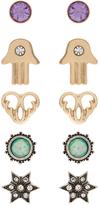 Accessorize 5x Hamsa & Star Stud Earrings Set