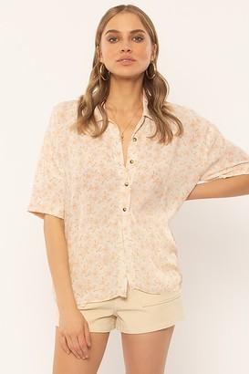 Amuse Society Miaou Shirt - XS . | viscose | off white | Flower - Off white