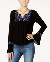 American Rag Embroidered Bell-Sleeve Peasant Top, Only at Macy's