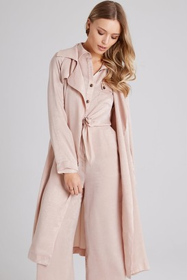 Girls On Film Sovereign Beige Satin Trench Coat