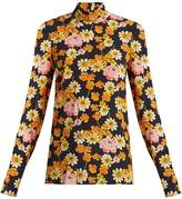 Joseph Vienna high-neck floral-print silk top