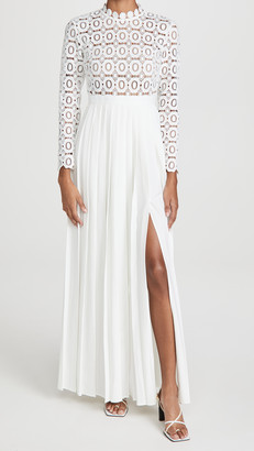 Self-Portrait Pleated Crochet Floral Maxi Dress