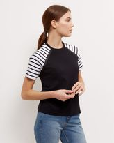 Jaeger Cotton Striped Sleeve T-Shirt