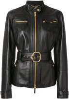Roberto Cavalli classic biker zipped jacket - women - Silk/Cotton/Leather/other fibers - 42