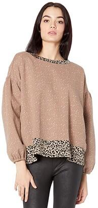 Miss Me Leopard Print Trim Long Sleeve Pullover (Beige) Women's Clothing