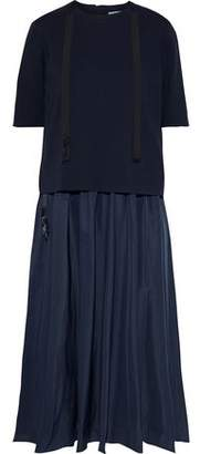 Max Mara Layered Jersey And Gathered Taffeta Midi Dress