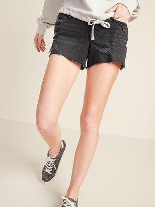 Old Navy Mid-Rise Boyfriend Ripped Black Cut-Off Jean Shorts for Women -- 3-inch inseam