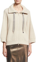 Brunello Cucinelli Ribbed Cashmere Zip-Front Sweater