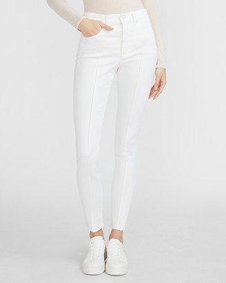 Express High Waisted Supersoft White Seamed Raw Hem Skinny Jeans