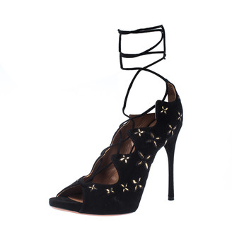 Alaia Black Embroidered Suede Cut Out Open Toe Ankle Wrap Sandals Size 41