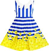 Sunny Fashion JH64 Girls Dress Navy Blue Striped Collar School