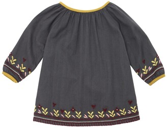 Caramel Baby And Child EMBROIDERED COTTON FLANNEL DRESS