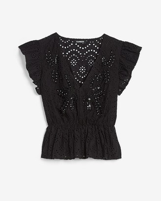 Express Embroidered Lace Peplum Top