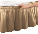 Elastic Bed Wrap Ruffle Bed Skirt, Gold, Queen/King