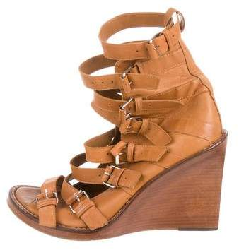 Ann Demeulemeester Leather Wedge Sandals