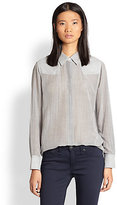 Rag and Bone Rag & Bone Redwood Striped Cotton, Silk & Linen Shirt
