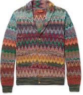 Missoni - Slim-fit Shawl-collar Crochet-knit Cardigan
