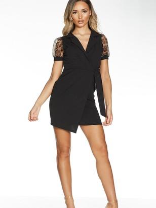 Quiz Short Wrap Dress With Animal Organza Sleeve - Black
